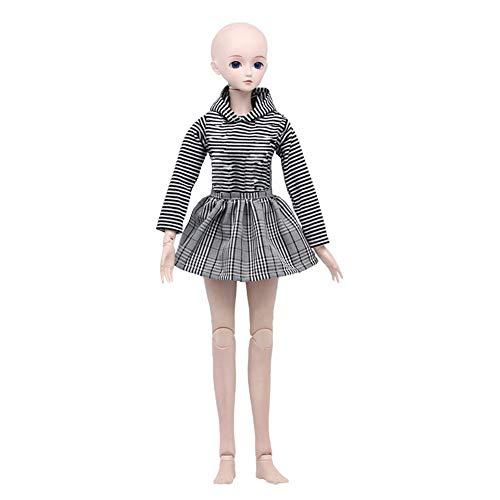 Uteruik Ropa de muñecas para 1/3 60 cm/24 in SD BJD Girl Doll Outfits - Camisa de cuadros falda accesorio de disfraz, 2 unids/set (#A)