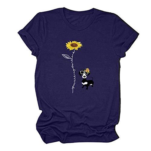 AFFGEQA Herren und Damen Casual Fashion Sonnenblumen- und Hundedruck-Kurzarmhemd