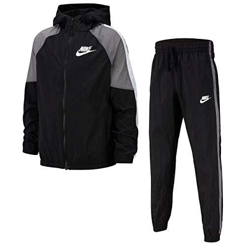 Desconocido Unbekannt Sportswear Trainingsanzug, Kinder L Schwarz/Gunsmoke/Weiß/Weiß