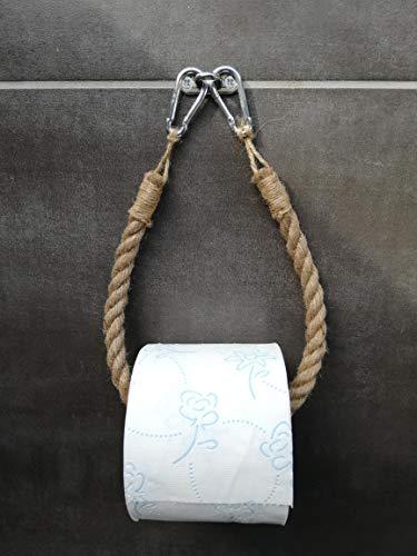 Solenzo–Portarrollos papel higiénico Vintage–puerta toalla–Cuerda Industrial