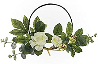 Artificial Rose Flower Wreath Farmhouse Wreath,Wedding Wreaths Front Door Wreath for Floral Home Wall Decor,Mothers Day