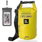 笑顔一番 新素材 防水バッグ ドライバッグ ドラム型 防水ポーチ付 5L 10L 20L 30L (5) イエロー, 5L