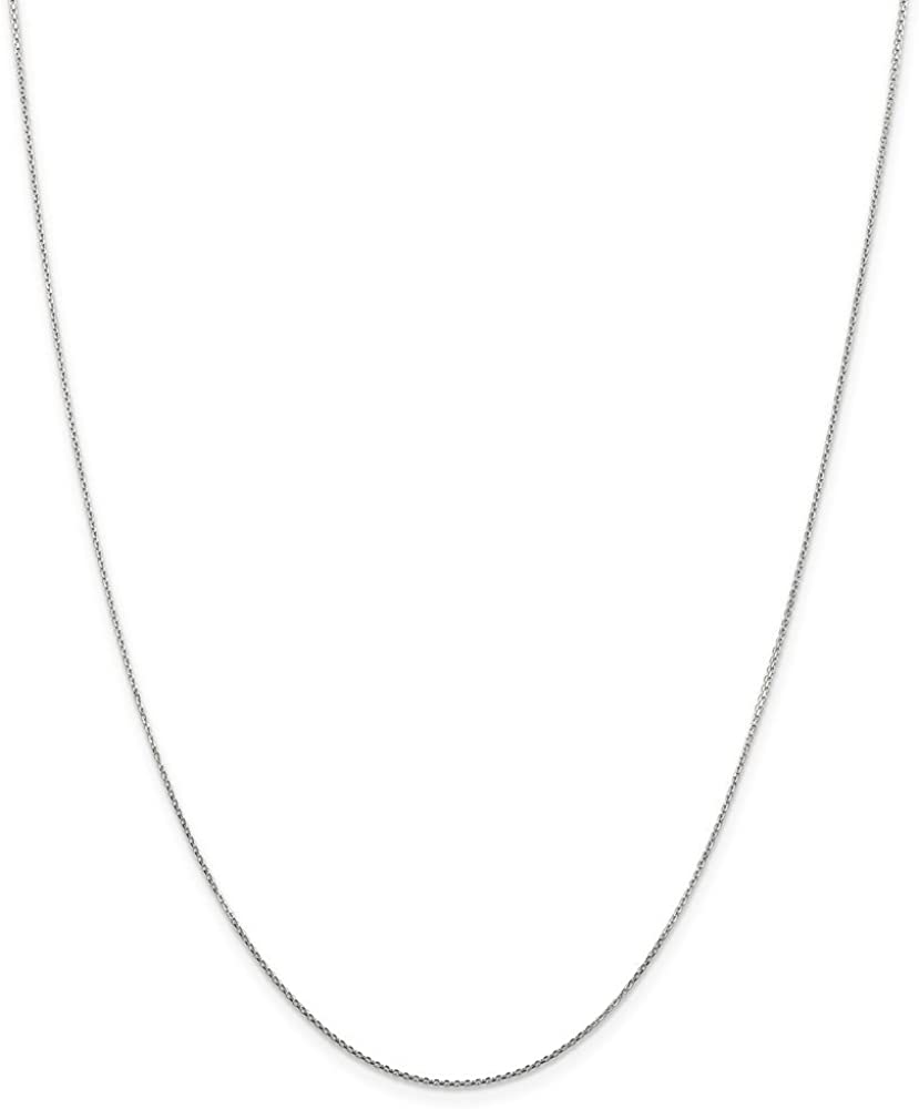 14k White Gold .8mm Round Link Cable Chain Necklace 20 Inch Pendant Charm D-c Fine Jewelry For Women Gifts For Her