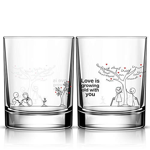 BOLDLOFT Grow Old with You His & Hers Drinking Glasses-Anniversary Gifts for...