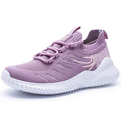 Akk Women Mesh Sneakers Lightweight Breathable Athletic Running Walking Gym Shoes Dark-Pink Size 7.5