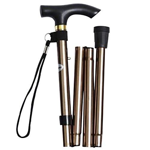 Canne pliable pour marche, trekking, randonnée, bâton support antidérapant réglable, alliage en aluminium avec design pratique, or