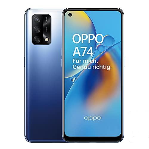 OPPO A74 Smartphone, 6,4 Zoll FHD+ AMOLED Bildschirm, 5.000 mAh Akku mit 30W VOOC 4.0 Schnellladen, 48 MP Dreifachkamera, Qualcomm Snapdragon 662, 6 GB RAM, 128 GB Speicher, ColorOS 11.1, Midnight Blue