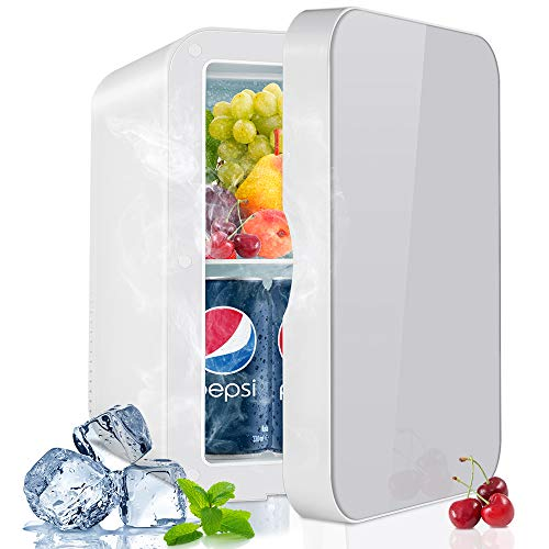 SNUGROM Mini Fridge 8 Liter/10 Can Skincare Fridge for Bedroom - with Upgraded Temperature Control Panel - AC/12V DC Thermoelectric Portable Cooler and Warmer for Skin Care, Medications, SILVER
