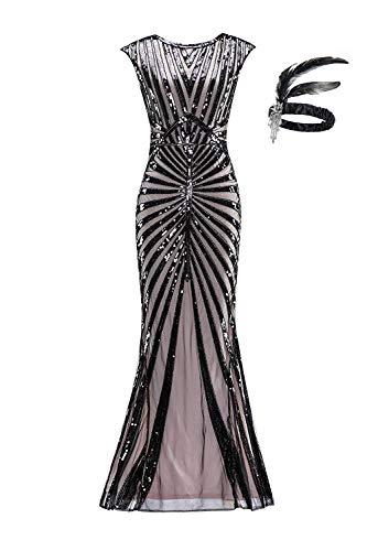 Robe de Femme Années 1920 pour Femmes Robe pour Les Femmes Gatsby Longue Robe de soirée GA25 (L, Black Pink)
