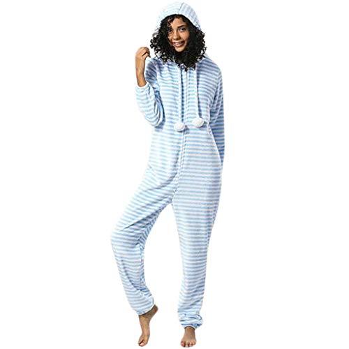 FRAUIT gestreepte jumpsuit dames capuchon flanel lange mouwen onesies trainingspak olifant design overall indianstijl zacht comfortabel bovenstuk