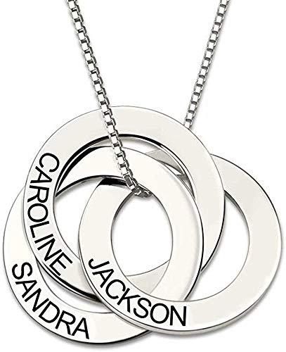 Custom 3 círculo del día de las madres anillo de nombres rusos collar personalizado con oro grabado Collar del disco