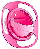Babyjem Bol Bébé, Assiette Non Renversable Plaque avec Couvercle, Rotation à 360°, sans BPA, Fonctionnel, Rose