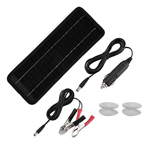 Fdit Tragbare 12-V-4,5-W-Solarpanel-Batterie, Wartungs-Autobatterie-Notstart- und Erhaltungsladegerät für Auto-Motorrad-Wohnmobile mit Feuerzeugstecker, Krokodilklemmen und Saugnäpfen