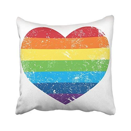 Funda de almohada decorativa para el hogar, 18 x 18 cm, colorida, diseño de bandera de arco iris, retro, con diseño de corazón, estilo vintage, antiguo, artístico, grietas, fundas de cojín decorativas, cuadradas para sofá, accesorio para el hogar
