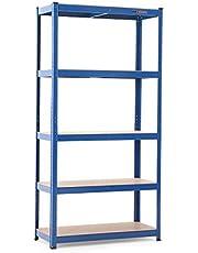 MAXCRAFT Stelling voor zwaar gebruik 180 x 90 x 40 cm met 5 lagen tot 875 kg Schroefloze stellingrekken Opslaggarage – Blauw