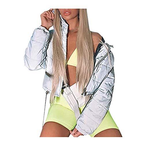 Dasongff winterjack dames kort gewatteerde jas reflecterende winterjas gewatteerde jas overgangsjas donsjack warme outwear streetwear heupteHop jas sweatshirt Large grijs