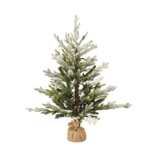 XONE Pinetto Nature Innevato 90Cm In PE Real Touch + PVC | Mini Albero Di Natale Artificiale Con Base In Juta Realistico