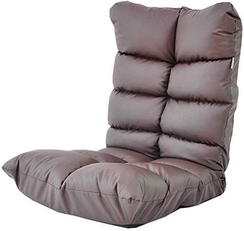 Relaxbx Faltbare gepolsterte Boden Stuhl 14-Fach verstellung Lounge Stuhl pu Schwamm Kissen Schlafzimmer Wohnzimmer Lager Gewicht 150 kg 125x57x18 cm (Farbe: braun)