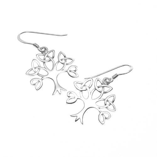 925 Sterling Silver Celtic Knot Trinity Tree of Life Dangle Earrings - Nickel Free