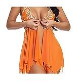 Lenceria Mujer Erotica Sexy, lencería Sexy Mujer Picardias Conjuntos de Lenceria Mujer Erotica Inicio Pijamas, Pijamas Irregulares Perspectiva de Costura del cordón(Naranja)