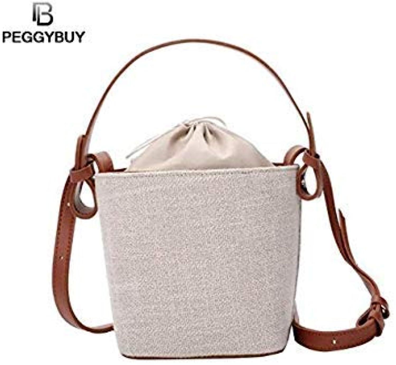 Bloomerang Canvas Drawstring Bucket Bag Beach Handbag Shoulder Messenger Bags Tote color Light Brown