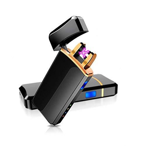 Asimu - Mechero USB con arco de luz, encendedor electrónico, indicador de batería, doble recargable, resistente al viento, pantalla LED sin llama, para cigarrillos, Navidad, con caja de regalo (azul)