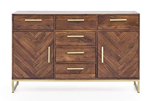 Vintagehaus Sideboard Akazie Massivholz Classy Parkett Gold Fischgrätmuster 2 Türen 6 Schubladen