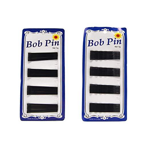 Horquillas negras para el pelo, Pasador, clips de dos tamaños lisa y con ondas. (6 cm, lisa)