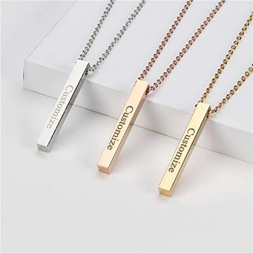 WDam Cuatro Lados Grabado Personalizado Barra Cuadrada Collar de Nombre Personalizado Collar Colgante de Acero Inoxidable Mujeres Hombres Regalo, Negro