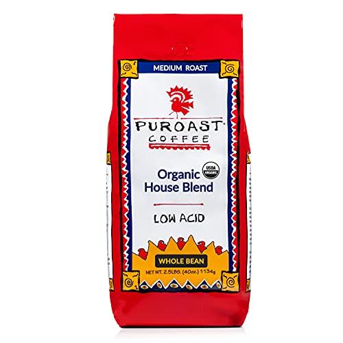 Puroast Low Acid Coffee Organic House Blend Whole Bean, 12 oz. Bag (Pack of 2)