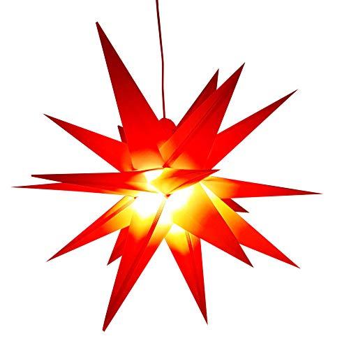 Led Weihnachtsstern Rot, Adventsstern, für Außen, Kunststoff Ø 55 cm Mit LED Lampe 3.6W Stern 3D Außenstern Fensterstern Deko