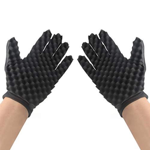 Hirolan Lockige Handschuhe, Mode Fellpflegehandschuh Locken Spule Zauber Werkzeug Welle Barbier Haarbürste Schwamm-Handschuhe Fingerhandschuhe Bürste (Rechte Hand + Linke Hand, Schwarz)