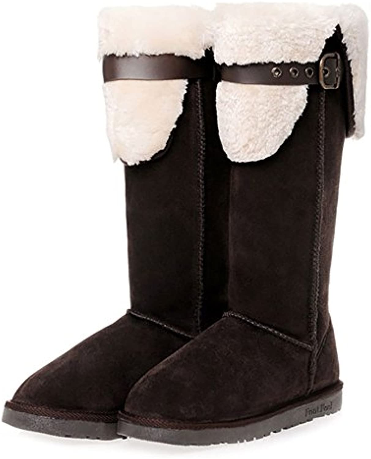 Footfeel Women's Warm Snow Boots Bow Tall Leather Fur
