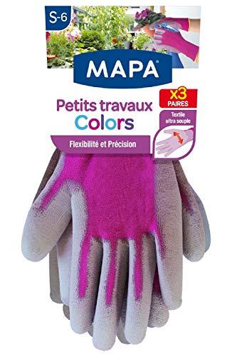 MAPA - Petits Travaux Colors x3 - Gants de Jardinage Ultra souples en Polyamide - Polyvalents pour tous les petits travaux de jardinage - 3 paires - Coloris Rose/Bleu/Violet - Taille S