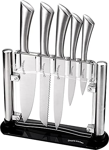 Utopia Kitchen Knife Set with Block Cooking Knife Set 6 Pieces Stainless Steel Knives with an...