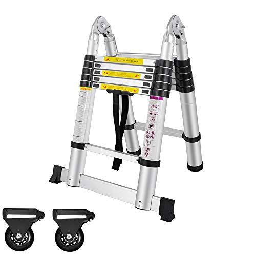 AUFUN Escalera Telescópica 3,8m Escalera de Aluminio Plegable Antideslizante Extensible multifunción Carga...