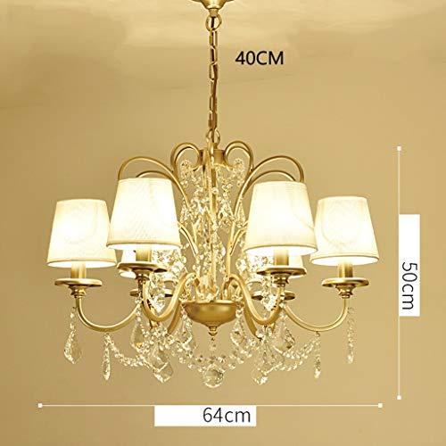 Z-W-DONG E14 kroonluchter, champagne, goud, ijzeren kunst-kandelaar eetkamer verbindings-ruimte-hangende lamp, 6/8 kopstof lampenkap plafondlamp ketting 40 cm lamp (kleur: goud)