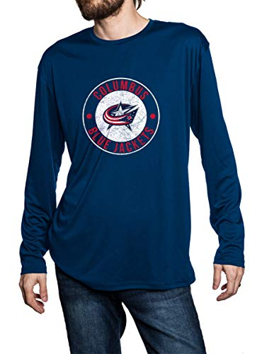 NHL Mens Loose Fit Performance Rashguard Wicking Long Sleeve Shirt (Medium, Columbus Blue Jackets)