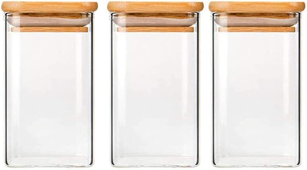 TYKYDD Square Jars - online shop 3 Stackable Boxes Set Glass Tank Storage New Orleans Mall