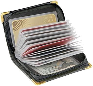 RFID Zip-Up Security Wallet, Black Leather