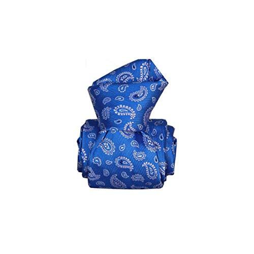 Segni et Disegni. Cravate artisanale. Confection main, Soie. Bleu, Paisley. Fabriqué en Italie.