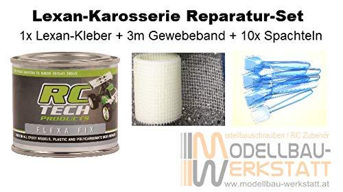 Modellbau-Werkstatt Lexan Karosserie Reparatur Set - Kleber Flexa Fix 100ml + 3m Gewebeband + 10 Spachteln Lexankleber