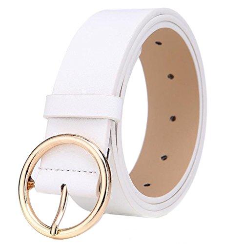 MESHIKAIER Damen mode PU Leder Gürtel Taillengürtel Hüftgürtel Casual Waist Belt mit Metallisch Schnalle (Weiß)