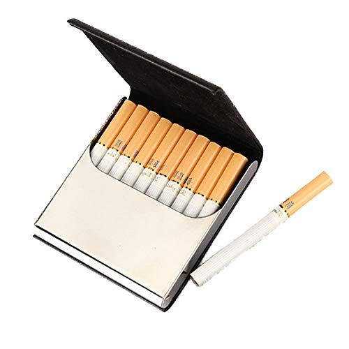 Pitillera negra de metal y piel sintética de alta calidad, hebilla magnética, puede contener 10 cigarrillos.