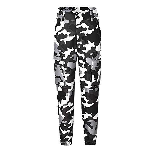 N\P Pantalones de carga para mujer, pantalones casuales de combate militar, camuflaje, ropa de calle, pantalones casuales de cintura alta, pantalones sueltos