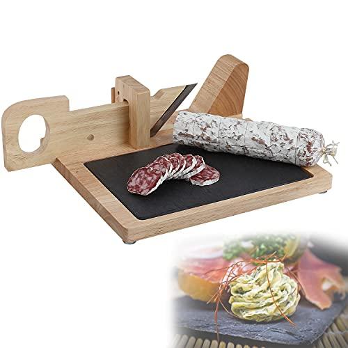 Planche à saucisson guillotine à saucisson en bois saucisse Couteaux avec planche Ardoise (Planche à découper, planche de cuisine, couteau, planche à découper, charcuterie)