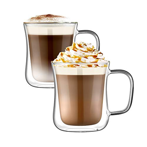 Ehugos vasos de café de doble pared, 2 tazas de café de vidrio borosilicato resistente al calor para café, té, café expreso, capuchino, latte, cerveza
