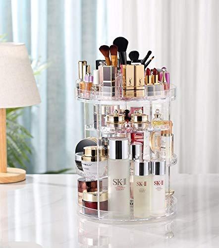 Shun Organisateur De Maquillage Rotatif Rotation Réglable à 360 Degrés Parfums Cosmétiques Présentoir Boîte Boîte De Rangement Cosmétique,Transparent-OneSize