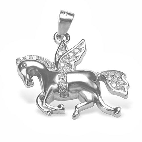 Pegasus Anhänger Silber 925 Pferd mit Flügeln Halskette mit Zirkonia #1976 (45cm)