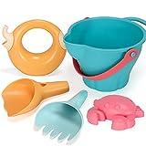 Giocattoli da spiaggia impostati per bambini5 pezzi, secchio, muffa del granchio, pala da spiaggia rastrello strumento, bollitore, materiale morbido 5 in 1 estate spiaggia sabbia set ( Color : A )